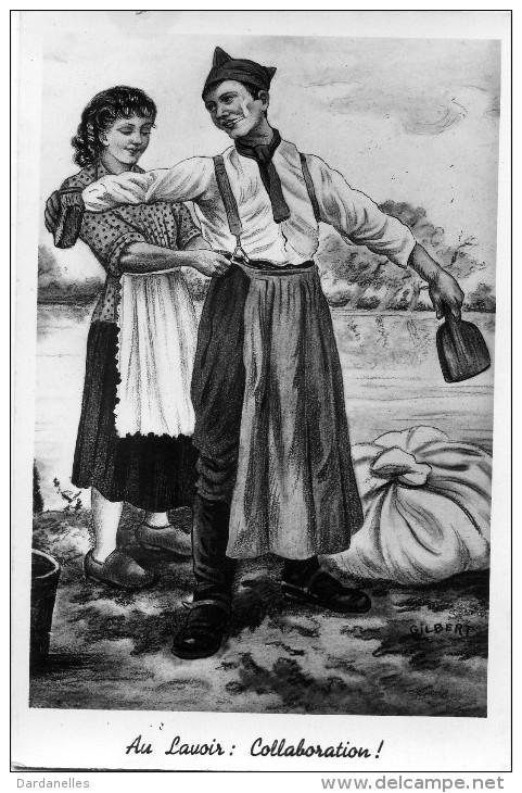 7440 -   Flirt Poussé Au Lavoir, Collaboration Entre Le Militaire Et La Lavandière, Illustration De Gilbert - Umoristiche