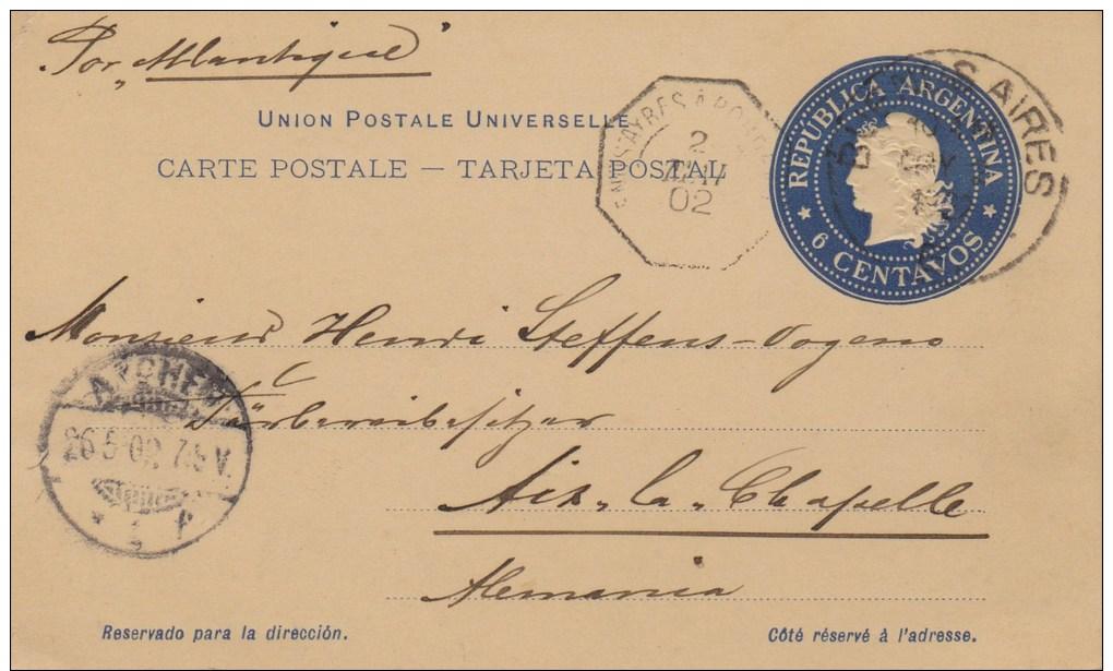 Argentina; Postal Card To Germany 1902 - Enteros Postales