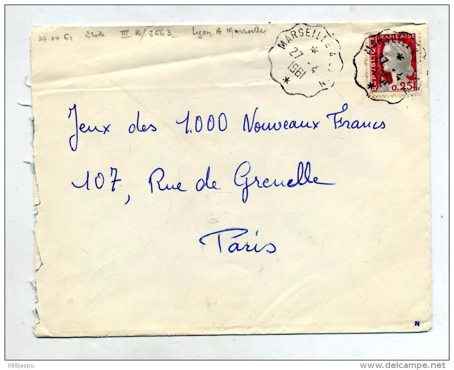 Lettre Cachet Ambulant Marseille à Lyon - Storia Postale