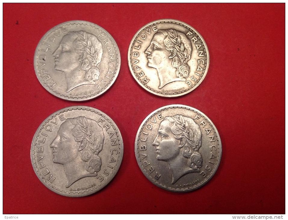 Lot De 4 Pieces 5F LAVRILLIER TTB ( Voir Scan ET Détail - Monnaies & Billets