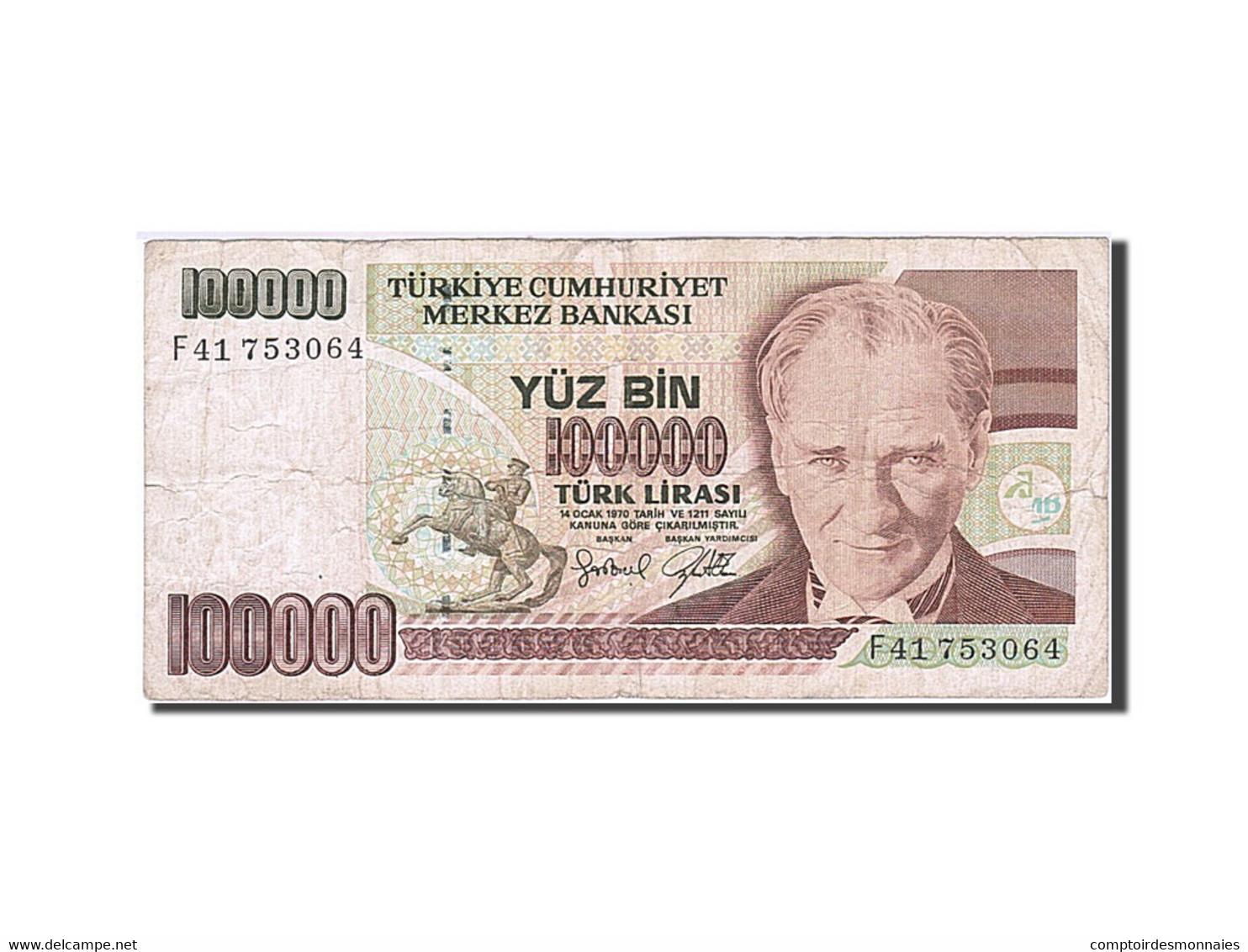 Turquie, 100,000 Lira, 1984-1997, KM:205, 1991, TB - Turkije