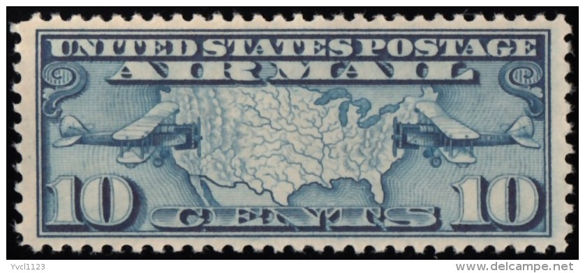 UNITED STATES - Scott #C7 Map Of U.S. & Two Mail Planes / Mint H Stamp - Air Mail