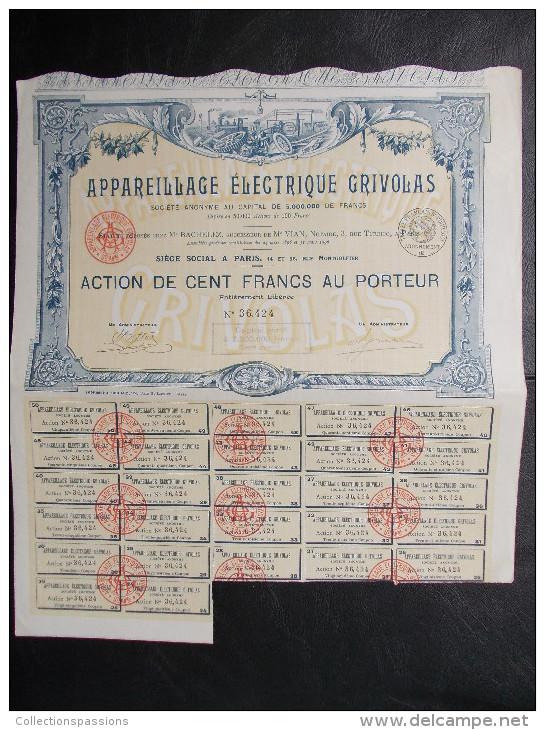 Magnifique Action Décorée. Appareillage électrique Grivolas. Action De 100 Francs Au Porteur - Electricité & Gaz