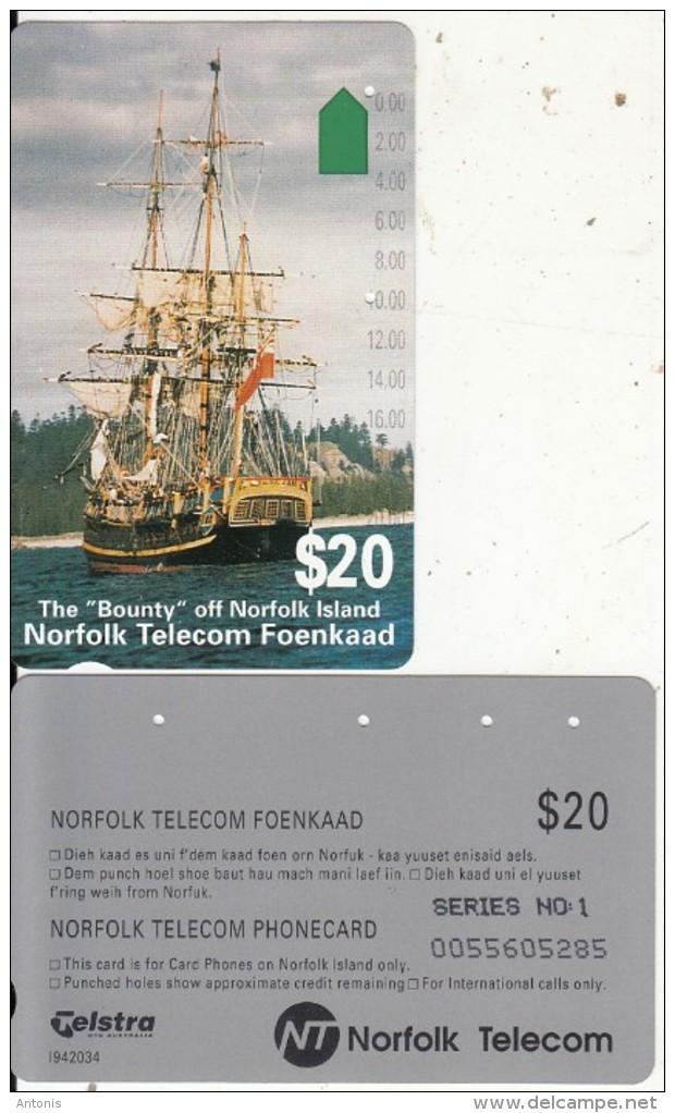 NORFOLK ISL. - The Bounty, First Issue $20(series No 1), Tirage %25000, Used - Norfolk Eiland