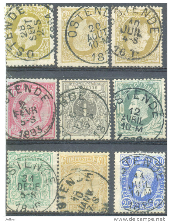 _5y-362: Restje Van 9 Zegels : E9: OSTEBDE... Om Verder Uit Te Zoeken.. - 1869-1883 Léopold II