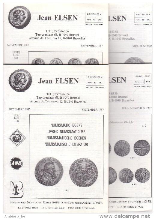 Catalogues Jean ELSEN - Ventes Publiques - Lot De 4 Catalogues - Année 1987 - Français