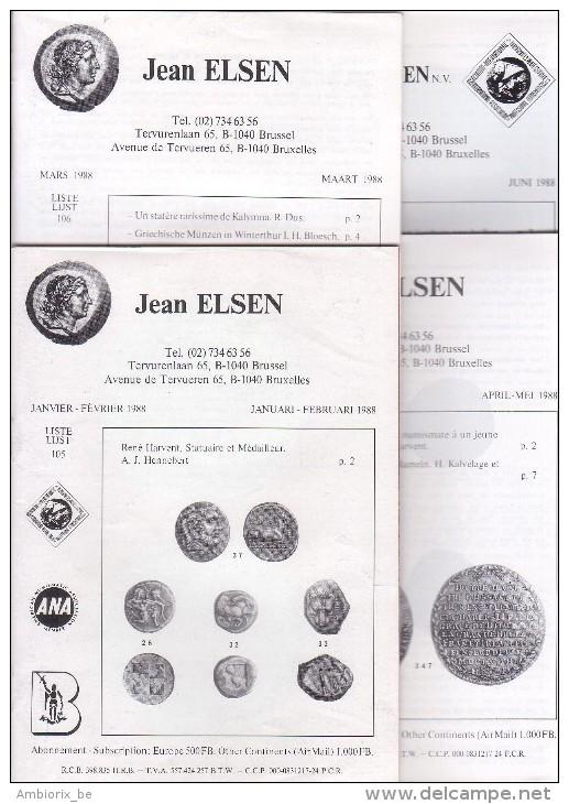 Catalogues Jean ELSEN - Ventes Publiques - Lot De 4 Catalogues - Année 1988 - Français
