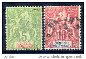 SENEGAL 1900 Definitive 5c. 10c. Used.  Yv. 21-22 - Senegal (1887-1944)