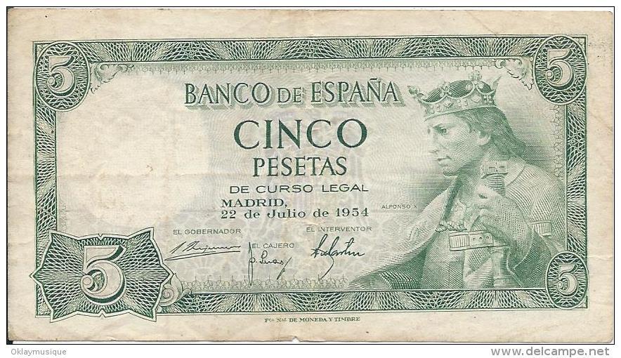 5 Pesetas 1954 - [ 3] 1936-1975 : Régence De Franco