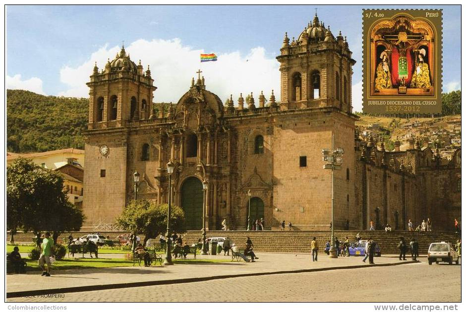 Lote PEP832, Peru, 2013, Entero Postal, Postal Stationary, Jubileo Diocesano Del Cusco, Flag, Church, Square - Peru