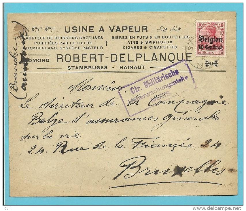 "Lettre TP Germania - Censure MONS - Entete "" USINE A VAPEUR / DELPLANQUE / STAMBRUGES "" (VK) - [OC1/25] General Gov."
