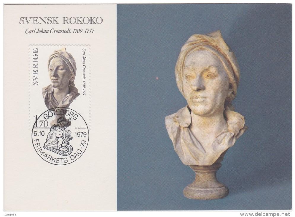 ART SCULPTURE SKULPTUR ROKOKO BOUCHARDON Gypsum Bust SWEDEN SUEDE SCHWEDEN  1979 MI 1081 RARE MAXI CARD - Slania - Scultura