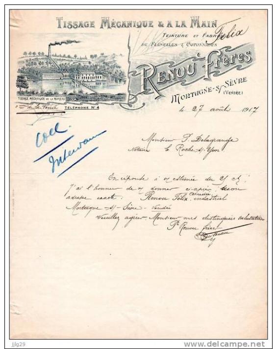 Facture MORTAGNE SUR SEVRE, Tissage Renou Frère  1917 - France