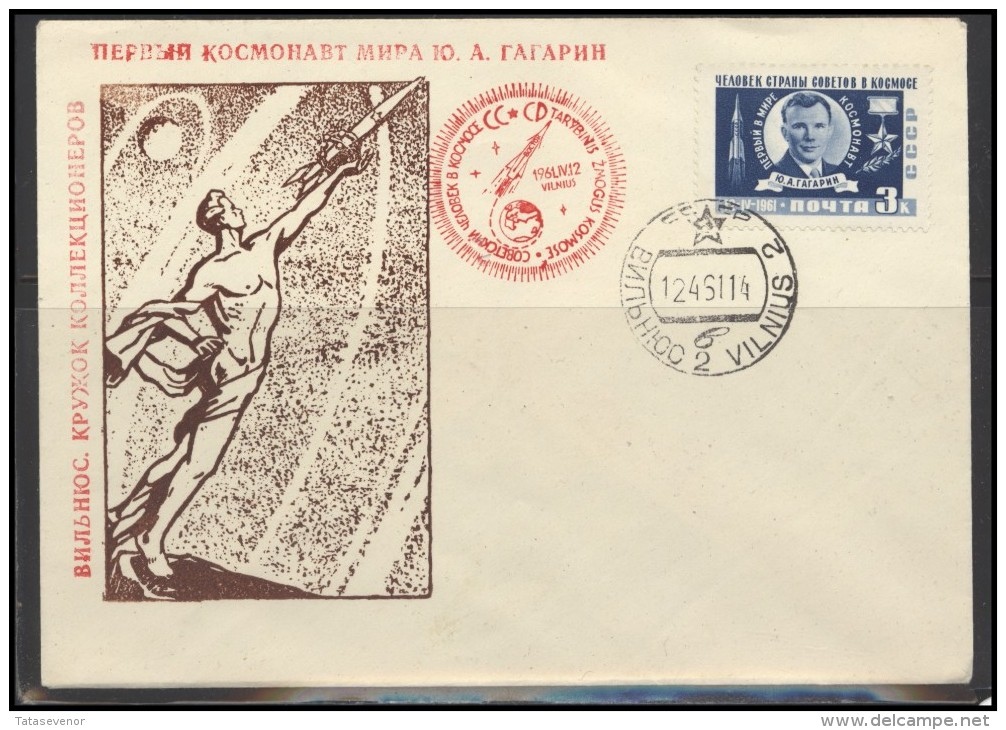 RUSSIA USSR Private Envelope LITHUANIA VILNIUS VNO-klub-036a Space Exploration Gagarin - 1923-1991 USSR