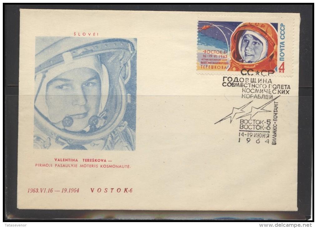 RUSSIA USSR Private Envelope LITHUANIA VILNIUS VNO-klub-069 Space Exploration Women Tereshkova - 1923-1991 USSR