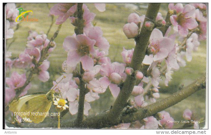 BHUTAN - Flowers, Bhutan Mobile Prepaid Card Nu.500, Used - Bhutan