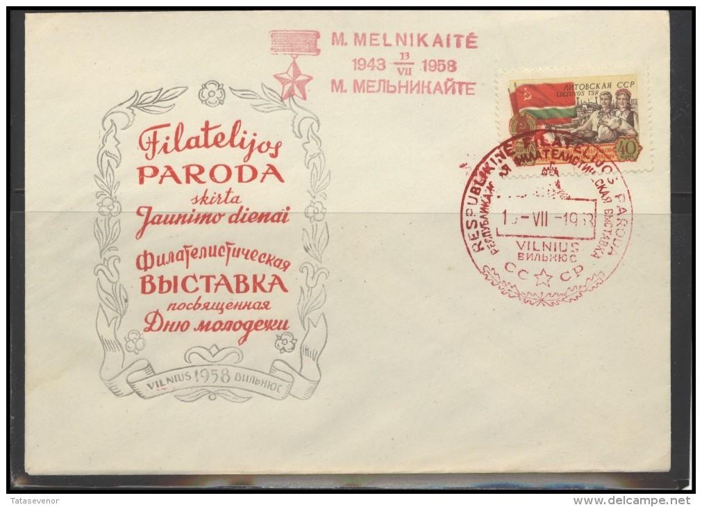 RUSSIA USSR Private Envelope LITHUANIA VILNIUS VNO-klub-015a Philatelic Exhibition Soviet Partisan Melnikaite - 1923-1991 USSR