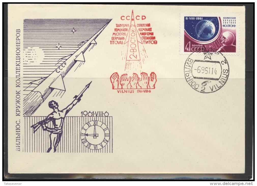RUSSIA USSR Private Envelope LITHUANIA VILNIUS VNO-klub-026a Space Exploration VOSTOK-2 Titov - 1923-1991 USSR