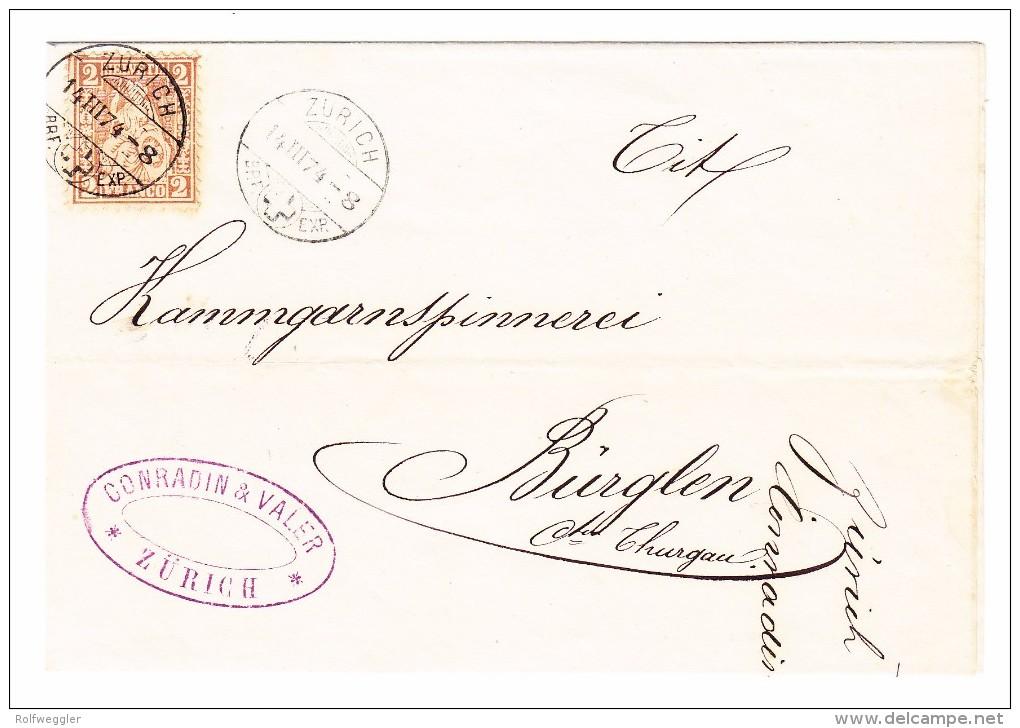 Schweiz 2Rp Sitzende #37a Hellrotbraun EF Auf Brief Hülle Ges. 14.3.1874 Zürich  Nach Bürglen TG - 1862-1881 Sitzende Helvetia (gezähnt)