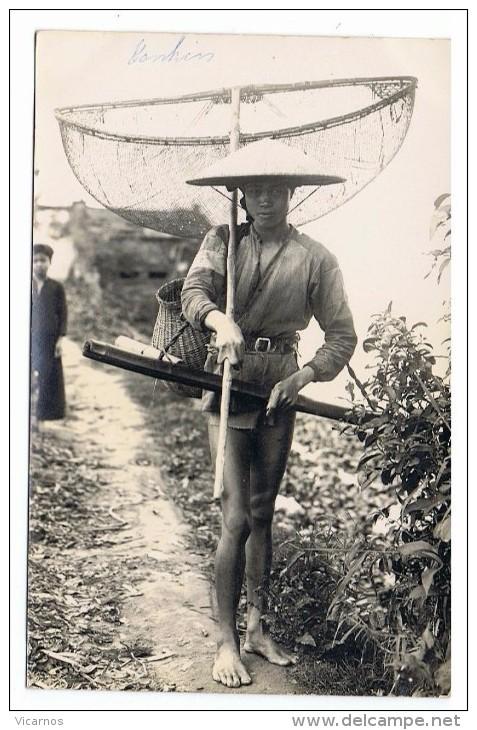 CARTE PHOTO TONKIN Jeune Pêcheuse - Vietnam