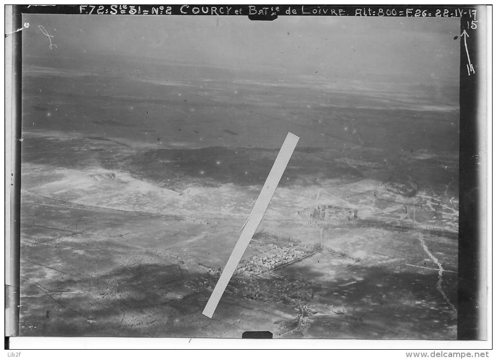 22/04/1916 Courcy Marne Vue Oblique De La Verrerie De Loivre 1 Photo Aérienne 1914-1918 14-18 Ww1 Wk1 - War, Military