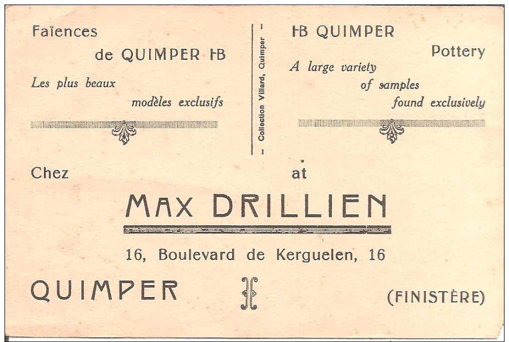 QUIMPER (29) Commerce Faïences De Quimper - MAX DRILLIEN 16 , Boulevard De Kerguelen - Quimper