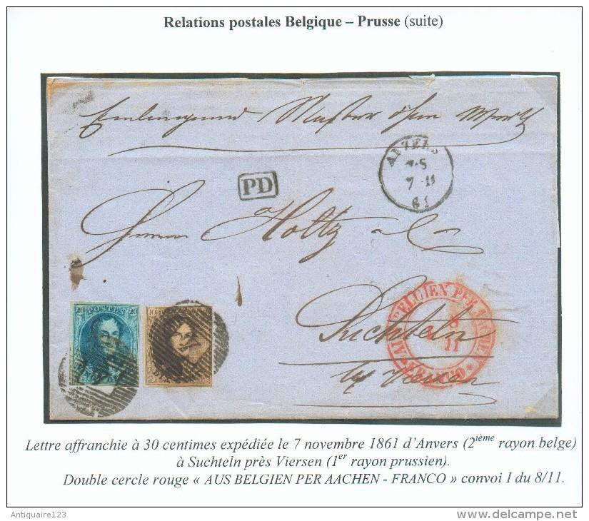 N°10-11 - Médaillons 10 Et 20 Centimes, Obl. P.4  Sur Lettre D´ANVERS (2ème Rayon Belge)  Le 7-11-1861 Vers Suchteln Prè - 1858-1862 Medallions (9/12)
