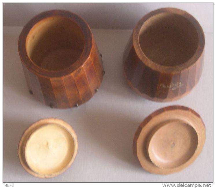 POT A TABAC - 2 POTS A TABACS EN BOIS TOURNE - ANNEES 1930-1950 - TABATIERE - 3 SCANS - Tabac (objets Liés)