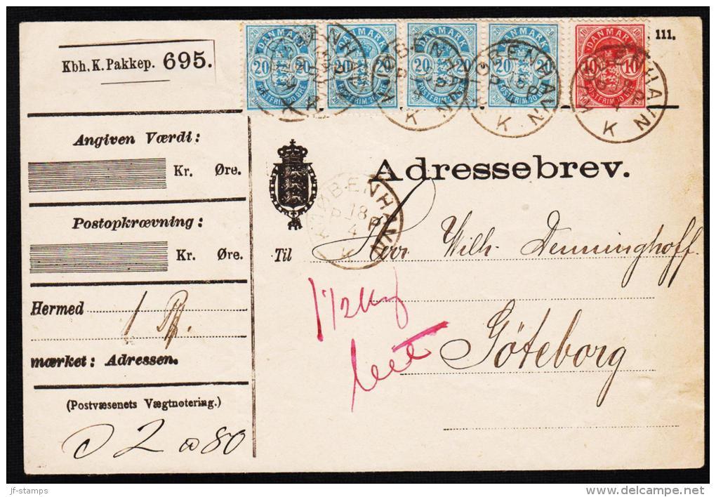 1884. Coat-of Arms. Large Corner Figures. 20 Øre Blue. Perf. 14x13½ 4 Ex. + 10 øre Adre... (Michel: 36YA) - JF192718 - 1864-04 (Christian IX)