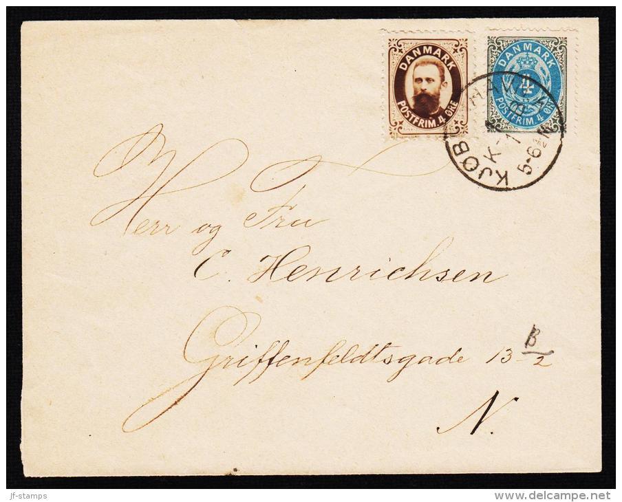 1875-1903. Bi-coloured. 8 Øre Grey/red + FOTO DANMARK POSTFRIM. 4 ØRE. KJØBENHAVN K B 1... (Michel: 25) - JF192721 - Briefe U. Dokumente
