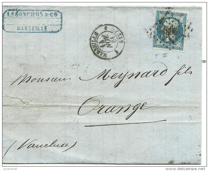 CARTA MARSEILLE A ORANGE 1864 - Marcofilia (sobres)
