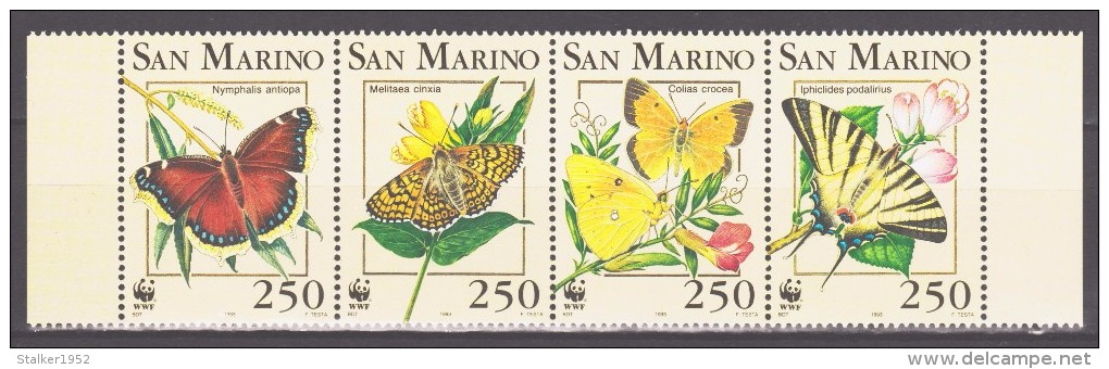 San Marino 1993 Mi 1535-1538vs WWF. Worldwide Conservation: Butterflies / Schmetterlinge **/ MNH - W.W.F.