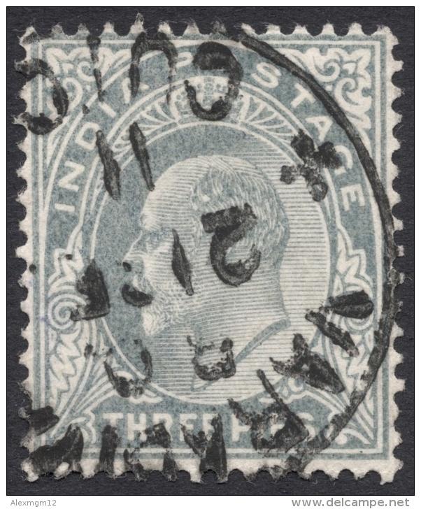 India, 3 P. 1902, Sc # 60, Used. - 1902-11 King Edward VII