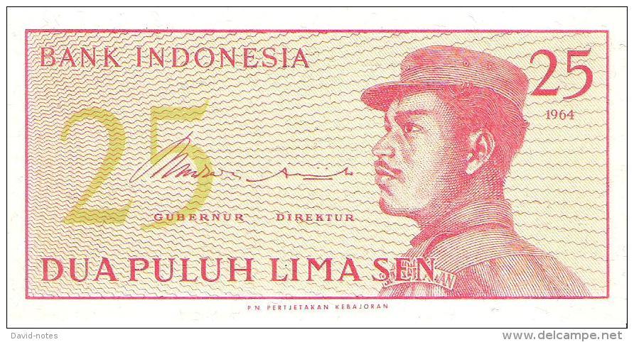 Indonesia - Pick 93 - 25 Sen 1964 - Unc - Indonésie