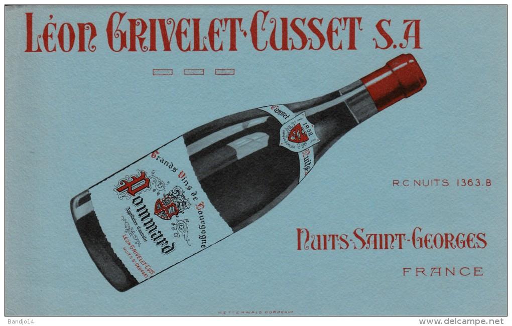 """Vin  """" Leon Grivelet Cusset """" - Pommard  1952 -  Nuit Saint Georges - Format 12,8 X 20,5 Cm - Papel Secante"""