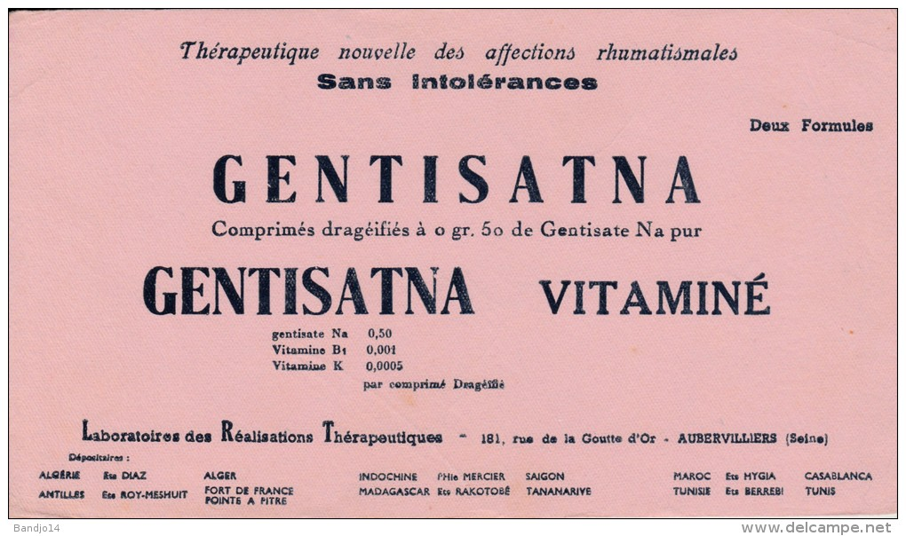 Gentisatna - Gentisatna Vitaminé -Aubervilliers  - Format 12 X 21 Cm - Produits Pharmaceutiques