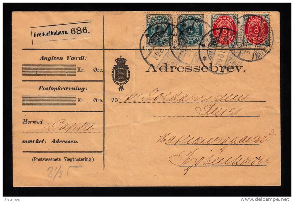 1901. Adressebrev. FREDERIKSHAVN 13.1.01. 2x 4 ØRE + 2x 8 ØRE.  (Michel: 23,25) - JF500449 - 1864-04 (Christian IX)