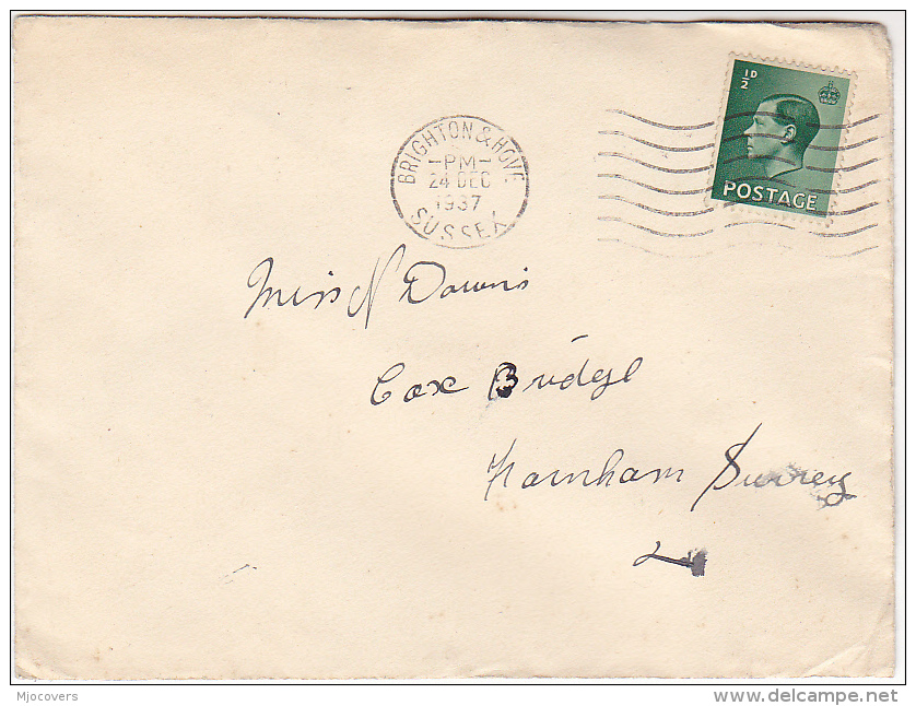 1937 Brighton GB E8 Stamps COVER Eviii - 1902-1951 (Kings)