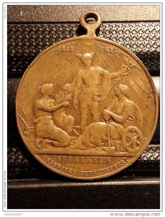 Medaille Medal 1813 -  1913 Neerlands Onafhankelijkheidsfeest. - Royaux/De Noblesse
