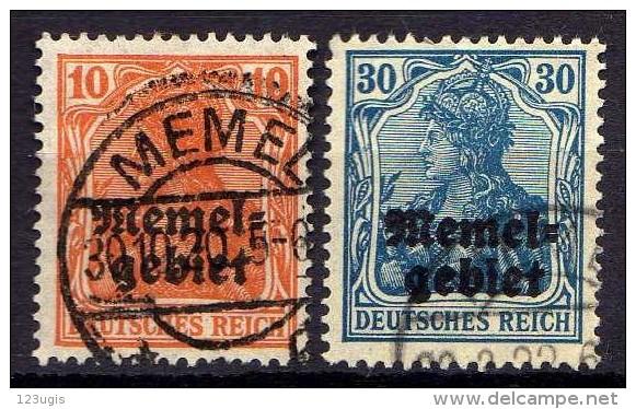 Memel 1920 Mi 14-15, Gestempelt [010216XIV] - Memelgebiet