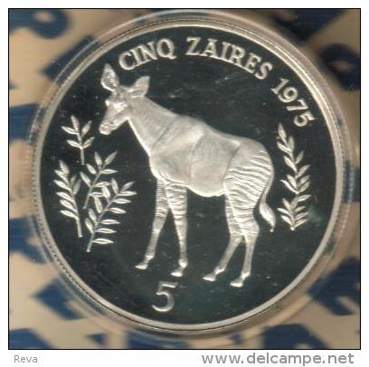 ZAIR ( CONGO) 5 ZAIRES OKAPO ANIMAL FRONT MOBUTE HEAD BACK 1975 AG SILVER PROOF KM10 READ DESCRIPTION CAREFULLY !!! - Zaire (1971-97)