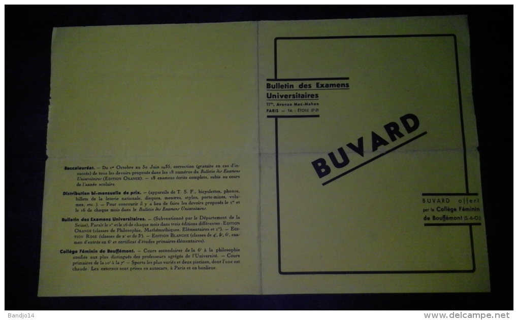 RARISSIME - Buvard Double ( Formant Chemise ) -collège Feminin De Bouffémont  1935 - Format 22 X 28 Cm - Papel Secante