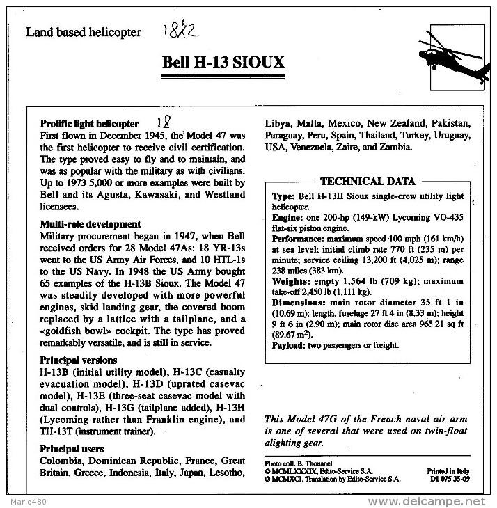 BELL H-13  SIOUX    2  SCAN    (NUOVO CON DESCRIZIONE TECNICA SUL RETRO) - Elicotteri