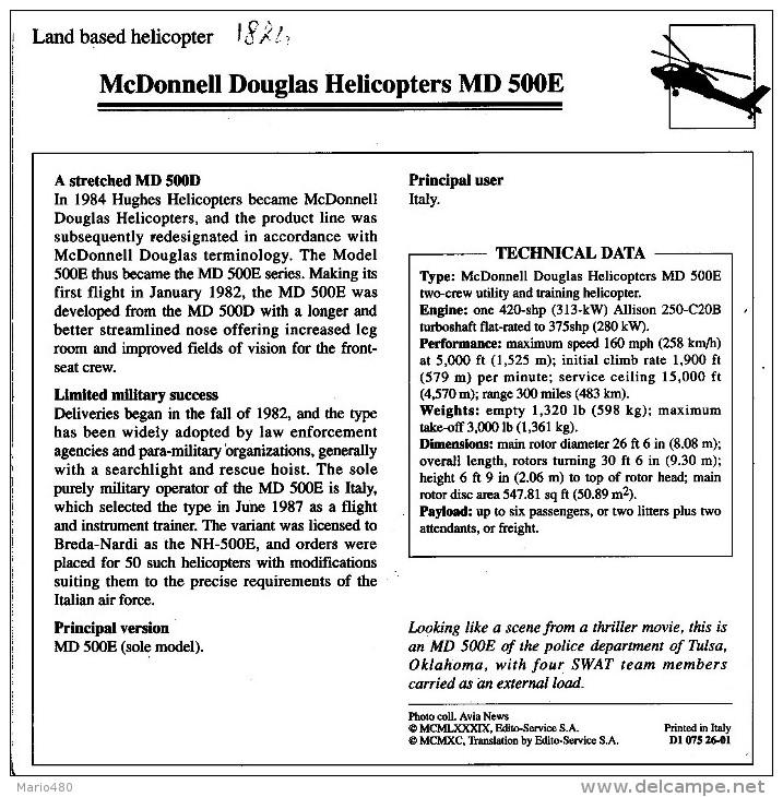 McDONNELL DOUGLAS  HELICOPTER  MD 500E     2  SCAN    (NUOVO CON DESCRIZIONE TECNICA SUL RETRO) - Elicotteri