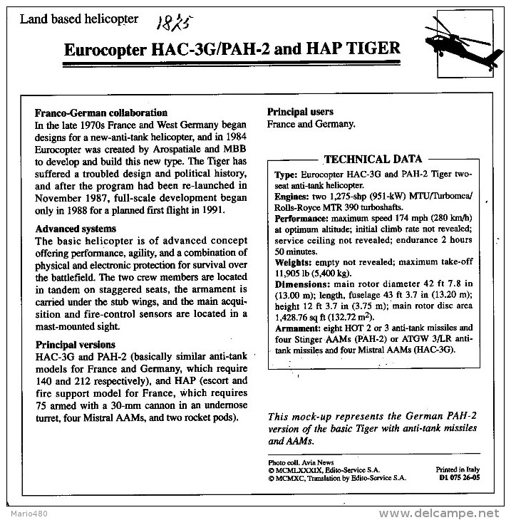 EUROCOPTER  HAC-3G/PAH-2 AND HAP TIGER    2  SCAN    (NUOVO CON DESCRIZIONE TECNICA SUL RETRO) - Elicotteri