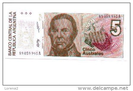 6-494. Billete Argentina. 5 Australes, Plancha - Angola