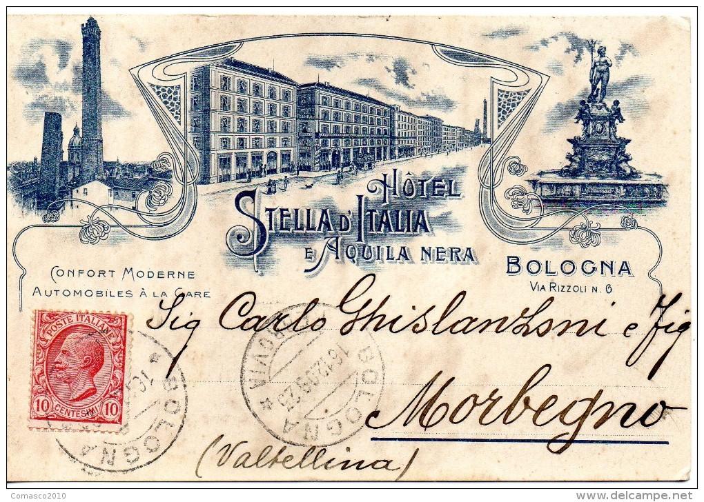 CARTOLINA DI  BOLOGNA HOTEL STELLA D'ITALIA E AQUILA NERA MOLTO RARA ANNO 1909 - Hotels & Restaurants