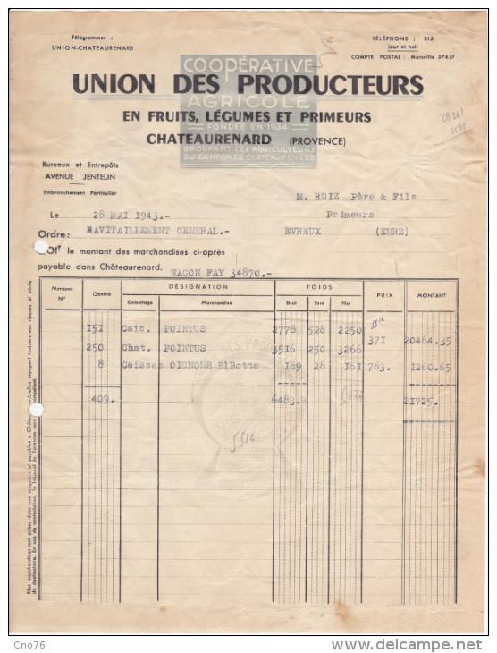 Facture Union Des Producteurs En Fruits, Légumes Et Primeurs, Syndicat Agricole à Chateaurenard - 1900 – 1949