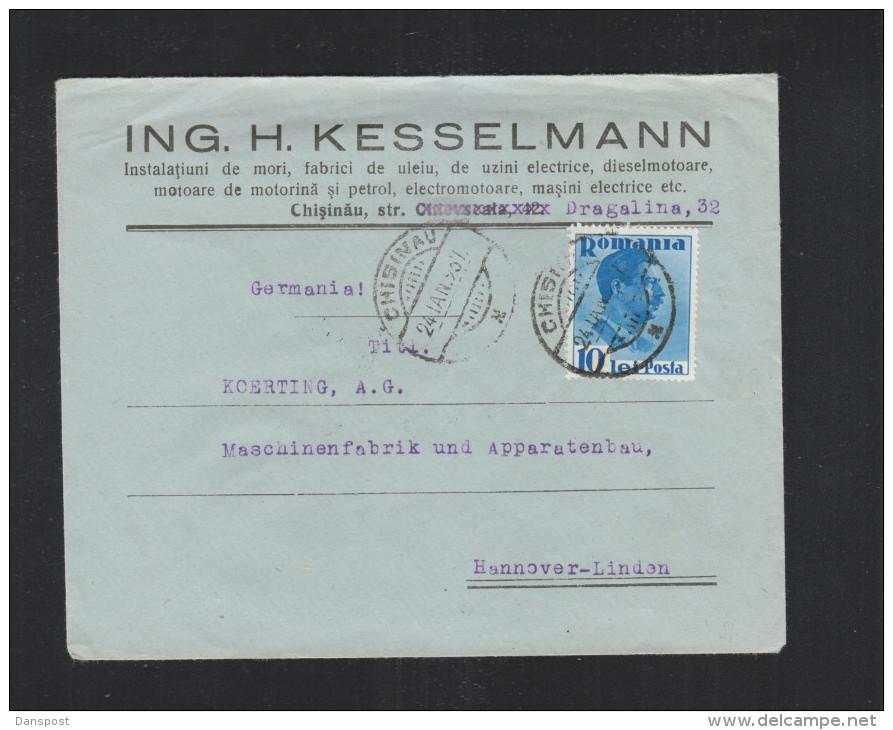 Romania Cover 1937 Chisinau To Germany - 1918-1948 Ferdinand, Charles II & Michael