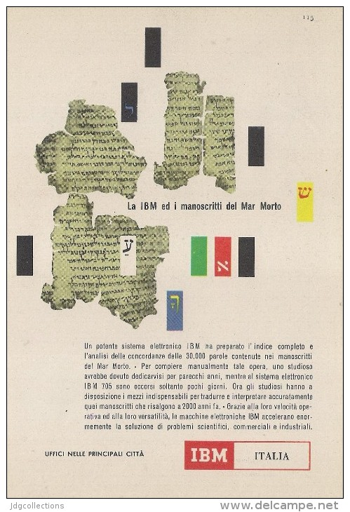 # IBM Electronics Computer Dead Sea Manuscripts 1970s Advert Pubblicità Publicitè Reklame Ordinateur Elektronik - Other